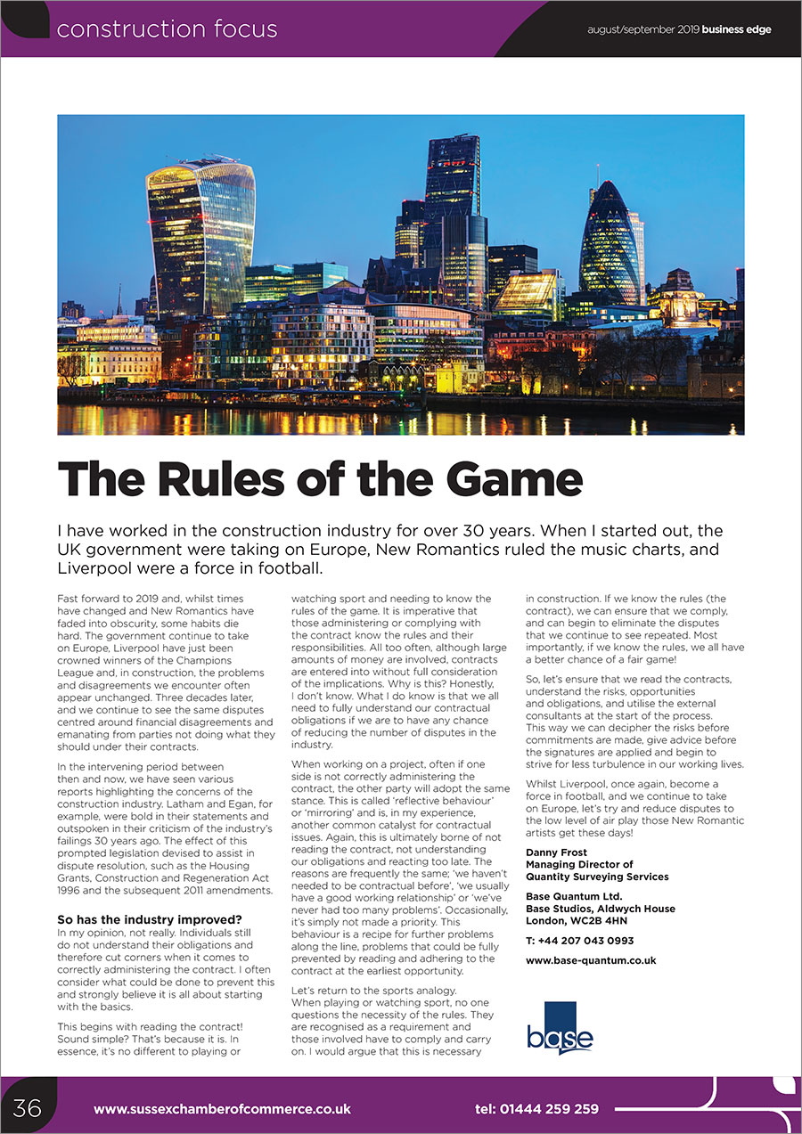 Business Edge Article: The Rules of the Game – Danny Frost