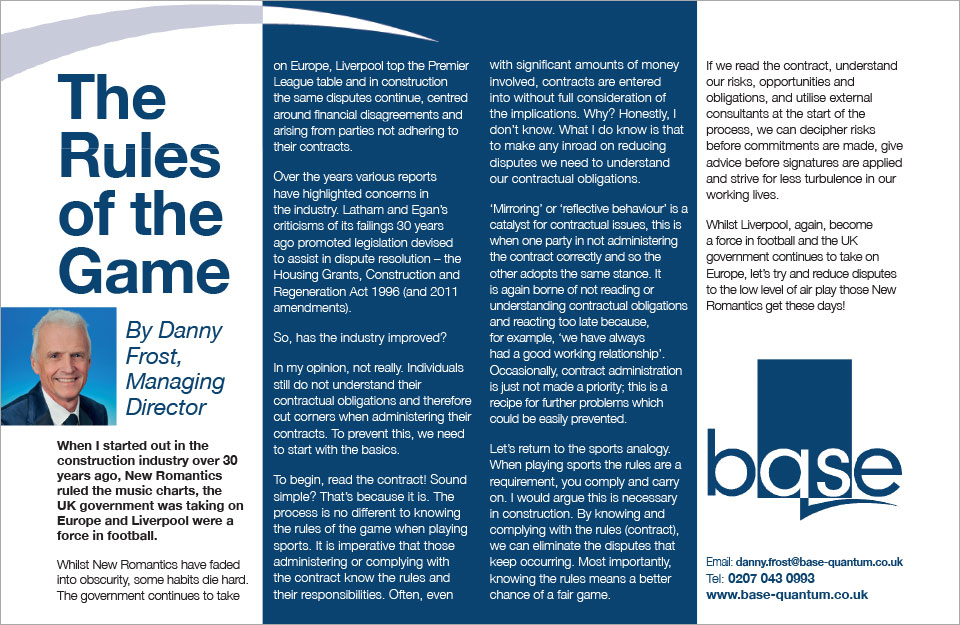 Thinking Business Article: The Rules of the Game – Danny Frost