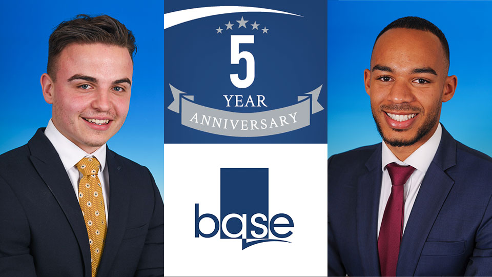 Alex Playle and Elliot Burris celebrate 5 Years at Base